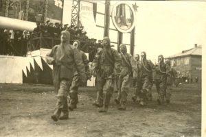 Колонна ОСОАВИАХИМ  на демонстрации  в день 1 Мая. Г. Сыктывкар. 1936 г.